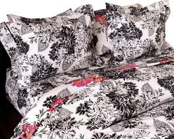 koi Design - Serpentine Duvet Set - Like a paint-by-numbers fabric sporadically filled in, this sumptuous, cotton sateen duvet set delivers a fresh twist to a classic botanical print. It's modern appeal will suit your contemporary style and complement chic decor accents in black, pink and orange.