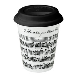 Konitz - Vivaldi Libretto on White Travel Mugs, Set of 2 - Start every day on a high note with this Vivaldi Libretto Travel Mug set. Contrasting black-and-white sheet music from a Vivaldi score graces each beautiful mug, making this set a must-have for the classical music lover on your list.