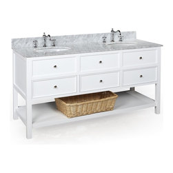 Kitchen Bath Collection - New Yorker 60-in Double Sink Bath Vanity (Carrara/White) - This bathroom vanity set by Kitchen Bath Collection includes a white cabinet with soft close drawers, Italian Carrara marble countertop, double undermount ceramic sinks, pop-up drains, and P-traps. Order now and we will include the pictured three-hole faucets and a matching backsplash as a free gift! All vanities come fully assembled by the manufacturer, with countertop & sink pre-installed.