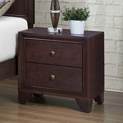 Homelegance - Homelegance Kari 2 Drawer Nightstand in Warm Brown Cherry - Complimenting the clean design of your home is the Kari Collection. Straight lines dominate the design of this transitional suite. The headboard features distinct framing that is carried throughout the design of the case pieces-each accented with subtle knob hardware. The warm brown cherry finish compliments a number of design schemes allowing for flexible placement in any of your home's bedrooms.