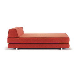 Double Decker Daybed in Burnt Orange - Completely modern and versatile, the Double Decker Daybed is a playful, yet simple and modern design. Opening up to a full-sized sleeper with a vibrant geometric pillow, this crafted item sits low to the ground on aluminum legs. Perfect for living rooms and guest rooms that need a hardwearing, sophisticated, and space-saving piece of furniture that's good for entertaining and for accomodating overnight guests.