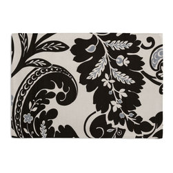 Black & White Modern Scroll Custom Placemat Set - Is your table looking sad and lonely? Give it a boost with at set of Simple Placemats. Customizable in hundreds of fabrics, you're sure to find the perfect set for daily dining or that fancy shindig. We love it in this modern swirling paisley-esque print in black & white with touches of silver. go ahead, go wild!