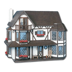 "Greenleaf Dollhouses - Harrison Dollhouse Kit - For even more choices in dollhouses, be sure to check out Greenleaf's Dollhouse of affordable all wood dollhouse kits! We can custom build your dream dollhouse. They are wonderful little houses for the new collector. Set includes: -Nine Rooms. -Six Bay Windows. Features: -Dollhouses collection. -Uses movable partitions to create up to nine large rooms. -Interior is wonderfully bright and spacious. -Hidden roof panel leads into a secret third floor studio room. -French doors open onto an elegant terrace. -Window boxes and diamond patterned ""leaded"" windows complete the regal picture. -Five full window boxes are ready to fill with your own tiny flowers. -Change the silk or plastic floral arrangements (typically available at your local craft store). -Big rooms. Specifications: -Material: Wood. -Overall dimensions: 31"" H x 37.25"" W x 21.13"" D. -Kit overall: 3"" H x 36.5"" W x 24"" D."