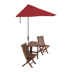 """Blue Star Group - 5-Piece CALEO Standard Set with 9 Ft. Olefin Fabric OFF-THE-WALL BRELLA - Enjoy Urban Outdoor Leisure Living at its very best.  The CALEO Terrace Mates 5-Piece Set is an innovative design solution in the search for shade and ambience on balconies and terraces.  Condominium and townhouse dwellers can transform a long ignored patio, deck or veranda into a vibrant addition to their lifestyle.  Designed to stand without attachment in front of a wall, window or sliding glass door, the attractive 36"""" half-round, drop leaf, gate-leg table and comfortable folding side chairs feature the exclusive 9 ft. OFF-THE-WALL BRELLA half-canopy umbrella and 40 lb. Custom Cast Base.  Canopy is made of Red Olefin Fabric fabric for long lasting color and durability.  Champagne color powder-coated umbrella frame and base.  When not in use the umbrella, table and chairs fold neatly out of the way to conserve space.  Crafted from kiln-dried Asian Hardwood, the furniture can be teak oiled to preserve the wood grain or leave untreated for a gray patina.  No assembly."""