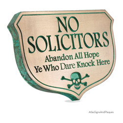 """Abandon Hope Solicitors 10"""" x 7"""" in Recessed Bronze Verdi - Solicitors and Trespassers take notice and """"Abandon All Hope Ye Who Knock Here"""".  Have a good laugh with our humorous No Soliciting Sign and No Trespassing Signs. Make it the law, hang the skull and crossbones on your gate or the door to the Man Cave."""
