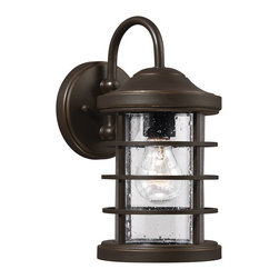 Sea Gull Lighting - Sea Gull Lighting 8524401BLE-71 Sauganash 1 Light Wall Sconces in Antique Bronze - Fluorescent Sauganash One Light Outdoor Wall Lantern in Antique Bronze with Clear Seeded Glass