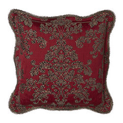 """Sweet Dreams - Sweet Dreams Scalloped Damask European Sham - Originality and opulence come together in """"Mi Amore"""" bedding by Sweet Dreams®. The look features an integrated animal and damask pattern on a rich scarlet ground, metallic embroidery, a host of fancy trims, and much more. Bedspreads have a scarlet..."""