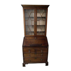 Pre-owned Rare Early Georgian Oak Secretary - This rare early Georgian oak secretary is believed to date back to the early 18th Century. It was purchased from Antonio's Antiques in San Francisco in 1987 for $14,910. The original list price was $22,500. It is in extremely good condition with minor restoration done by Antonio's in SF before purchase. The interior features an ingenious hidden cash drawer. There is some slight fading on the left side due to sunlight exposure, but otherwise is in great shape. This antique was very much admired and cared for.