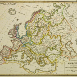 Consignment Original Antique Map of Europe, 1839 - Original antique engraving of the watersheds and rivers of Europe from the earlier edition of Stieler's Hand Atlas, 1839. Over 175 years old. Original double-layered hand color tinting. Shows great detail.