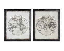 Uttermost - Global Vintage Art Set of 2 - These oil reproductions feature a hand painted white background on loosely woven burlap with the artwork printed over this. Frames are heavily distressed black with medium brown undertones and a gray wash.
