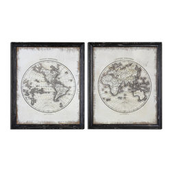 Uttermost - Global Vintage Art S/2 - These Oil Reproductions Feature A Hand Painted White Background On Loosely Woven Burlap With The Artwork Printed Over This. Frames Are Heavily Distressed Black With Medium Brown Undertones And A Gray Wash.