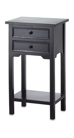 "Koehler Home Decor - Koehler Home Decor Black Telephone Table - Black telephone table, pine grain, black stain, two drawers. 15 3/4"" x 11 5/8"" x 27 1/3"" high. Size: 15.75""x 11.62""x 27.33"". Color: Black."