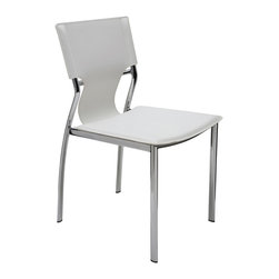 Nuevo Living - Lisbon Dining Chair, Set of 2, White - You'll want to linger over every meal with sturdy, stylish chairs like these. A tubular steel frame with a glossy chrome finish is the perfect foil for leather — striking seating that completes your modern dining setting.