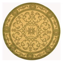 """Safavieh - Indoor/Outdoor Courtyard Round 5'3"""" Round Natural - Olive Area Rug - The Courtyard area rug Collection offers an affordable assortment of Indoor/Outdoor stylings. Courtyard features a blend of natural Natural - Olive color. Machine Made of Polypropylene the Courtyard Collection is an intriguing compliment to any decor."""