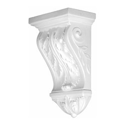 Renovators Supply - Corbels White Urethane Corbel 12 3/8 H 7 3/4 W | 12383 - Corbels: Made of virtually indestructible high-density urethane our corbels are cast from steel molds guaranteeing the highest quality on the market. High-precision steel molds provide a higher quality pattern consistency, design clarity and overall strength and durability. Lightweight they are easily installed with no special skills. Unlike plaster or wood urethane is resistant to cracking, warping or peeling.  Factory-primed corbels are ready for finishing. Measures 12 3/8 inch high x 7 3/4 inch wide.