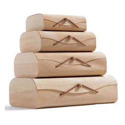 Birch Storage Boxes - I love the simplicity of these wooden stacking boxes.