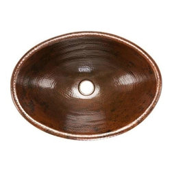 "Premier-Copper-Products - Oval 19"" Braid Self Rimming Copper Sink, No Design - LO19RDB Premier Copper Products Oval 19-Inch Self Rimming Hammered Copper Sink"