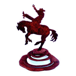 Cowboy spring kinetic garden art - Cowboy bucking horse rider on spring is a wonderful kinetic garden art sculpture. It is cut from heavy rusted steel for years of enjoyment. It is designed by California artist Susan Regert and hand made in the USA.