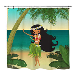 Surfer Bedding - Hula Girl On The Beach Shower Curtain - Hula Girl On The Beach Shower Curtain from our Surfer Bedding Hula Girls Bed and Bath Collection.