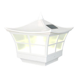 Classy Caps - Classy Caps Ambience Solar Post Cap - White - High Performance solar lights - stays lit for up to 12 hours
