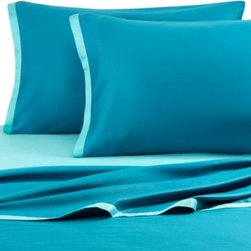 Kas Australia - Kas Light Two Tone Teal/Dark Teal Sheet Set - These two-toned sheets in light and dark teal give your bed a stylish look, while their soft feel makes them an enjoyable pleasure. A great way to add a touch of luxurious comfort to your bed.