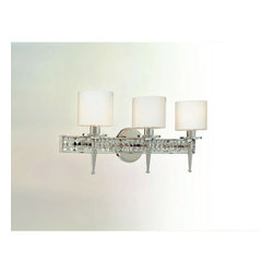 Troy Lighting - Collins Bath Bar - Collins Vanity Light features a diamond crystal frame with a clear opal glass shade. 60 watt, 120 volt B10 candelabra base incandescent bulbs are required, but not included. 1 Light: 5.5 inch width x 10.5 inch height x 6.5 inch depth. 2 light: 15.75 inch width x 10.5 inch height x 6.5 inch depth. 3 light: 24 inch width x 10.5 inch height x 6.5 inch depth. 4 light: 32.5 inch width x 10.5 inch height x 6.5 inch depth.