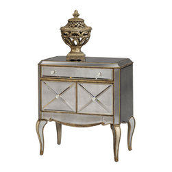 Bassett Mirror - Collette Mirrored Chairside Chest - Antique Mirror with Gold and Silver Leafing. Measures: 30 in. W x 19 in. D x 32 in. H. Part of the Collette Collection.