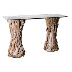"Uttermost - Teak Root Glass Top Console Table - Natural, Unfinished Teak Roots Sculpted Into Sturdy Table Pedestals With A Clear Glass Top.; Collection: Teak Root; Designer: Matthew Williams; Material: Teak Wood With Glass; Finish: Natural, Unfinished Teak Wood Sculpted Into Sturdy Table Pedestals With A Clear Glass Top.; Bulb not included.; Dimensions: 17.7""D x 54""W x 33.5""H; Uttermost's Tables Combine Premium Quality Materials With Unique High-style Design.; With The Advanced Product Engineering And Packaging Reinforcement, Uttermost Maintains Some Of The Lowest Damage Rates In The Industry. Each Product Is Designed, Manufacturered And Packaged With Shipping In Mind."