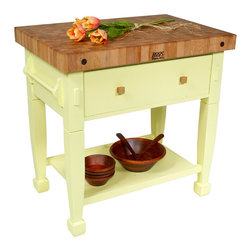 """John Boos - John Boos Jasmine Block, Basil, 48"""" X 24"""" - The John Boos Jasmine Block is a tremendous multi-purpose island for your kitchen. With your choice of 12 vibrant base colors, this classic island from John Boos will be a striking addition to your home!"""
