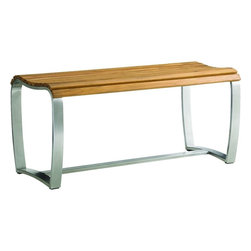Lexington - Tommy Bahama Tres Chic Bench - The bench's stretcher base contrasts a gently curved top and brushed stainless supports creating a refined look.