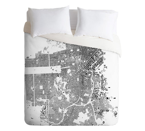DENY Designs - CityFabric Inc San Francisco White Duvet Cover - Turn your basic, boring down comforter into the super stylish focal point of your bedroom. Our Luxe Duvet is made from a heavy-weight luxurious woven polyester with a 50% cotton/50% polyester cream bottom. It also includes a hidden zipper with interior corner ties to secure your comforter. it's comfy, fade-resistant, and custom printed for each and every customer.