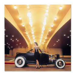 Metal Art Studio - Casino Roadster Metal Art - The 'Casino Roadster' piece is a throwback, retro/modern high definition photo print on steel. The spectacular image is one of the photographs from renowned photographer David Perry. One of David's specialties is creative, artistic shots of hot rods and pin-up girls, making this the perfect wall art for a garage or man cave. This image features creative usage of the exciting Las Vegas architecture, with oversized old school light bulbs overhead. A lovely mobster style girl with a leopard print top leans with gloved hands against the roadster getting ready for a night on the town.