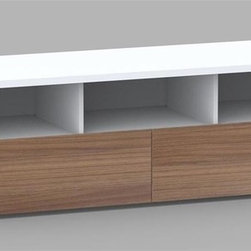Nexera - Liber-T 60 in. 2 Drawer TV Stand in White & W - 2 Extra wide storage drawers. Metal glides. 3 Large open spaces for electronic devices. 1 in. Thick panels. Made of engineered wood. Assembly required. 60 in. W x 20 in. D x 18 in. H (57 lbs.)We all have different needs and preferences so why not have a collection that caters to what you want? Express your creativity with the brand new Liber-T collection from Nexera. Entertainment center, home office, storage and decoration. This collection does it all with its unique modular conception that lets you mix and match the different items, you're sure to find your own perfect configuration.
