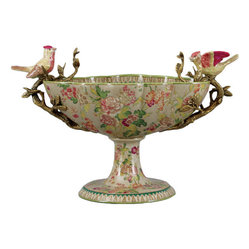 "ORIENTAL DANNY - Whimsical Porcelain Basin with Pair of Birds - Perk up your decor with this stunning porcelain floral-patterned basin, handmade and featuring two adorably sculpted song birds along the rim. The bronze branches they rest upon act as useful handles, allowing you to have a real ""wow"" moment when you bring out this beauty."