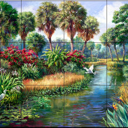 The Tile Mural Store (USA) - Tile Mural - Everglades Paradise - Kitchen Backsplash Ideas - This beautiful artwork by Laurie Snow Hein has been digitally reproduced for tiles and depicts a waterview of the Florida everglades.  This garden tile mural would be perfect as part of your kitchen backsplash tile project or your tub and shower surround bathroom tile project. Garden images on tiles add a unique element to your tiling project and are a great kitchen backsplash idea. Use a garden scene tile mural for a wall tile project in any room in your home where you want to add interesting wall tile.