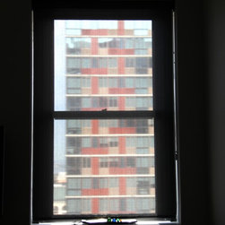 Emma In Downtown Brooklyn Has Solar Shades & Honeycomb - In her living room, Emma wanted to focus on reducing the heat and glare but loved the idea of still being able to see out and preserving the view. She did that by choosing Solar Shades- and picked our Chroma Dark Grey with a bronze valance, fabric wrapped bottom bar and loop control.