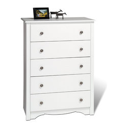 Prepac Furniture - Prepac Monterey 5 Drawer Chest in White - This Monterey 5 Drawer Chest in White by Prepac Furniture features five full-size drawers, a profiled top, side moldings and an arched kick plate. Other highlights include solid brushed nickel knobs and drawers that run on smooth all-metal roller glides with built in safety stops. As a higher quality ready to assemble product, it is made from durable composite woods, and unlike other RTA furniture, has no plastic edge-banding. It has a classic decorative touches including an arched apron, a profiled top, side moldings and solid brushed nickel accents to make it as visually appealing as it is practical for your bedroom.