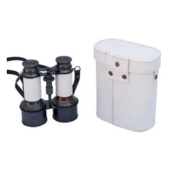 Handcrafted Nautical Decor - Commanders Oil-Rubbed Bronze/White Leather Binoculars with Leather case 6'' - These beautiful Hampton Nautical Commander's Oil-Rubbed Bronze/White Leather Binoculars with Leather Case 6'' will make anyone feel like a true navigator. With a uniquely designed body structure and classic eye pieces, these binoculars have in-line prisms for improved field of view and have precision ground glass 1.75 inch (44 mm) diameter objective lenses. Focusing is accomplished using a knurled focusing knob on top of the binoculars. The binoculars have a leather strap and come with a handmade leather case.--------    Oil-rubbed bronze wrapped in white leather nautical binoculars--    --    Functional and decorative nautical decor--    20x magnification--    Easy focusing with knurled knob--    Leather strap and handmade leather case included for safe keeping--    Custom engraving/photo etching available; logos, pictures, and slogans can easily be put on any item. Typical custom order minimum for engraving is 100+ pieces. Minimum lead time to produce and engrave is 4+ weeks.--