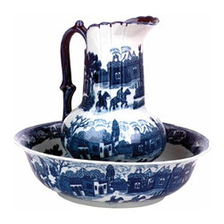 Renovators Supply - Chamber Pots Delft Blue Ceramic Chamber Pot & Pitcher Set | 19810 - Chamber Pot and Pitcher Delft Blue Set. This beautiful reproduction Victorian piece is the perfect accent for any washstand. Washbasin 4 1/2 inch High x 15 inch Wide. Pitcher 13 1/4 inch High. Constructed of hard-fired ceramic.