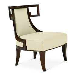 Baker Furniture - Greek Lounge Chair - A modern twist on a number of classical motifs. This lounge chair adds a stylized Greek key shoulder board to a curved, wood-framed tight back. Tight seat. Saber legs. Extensive nail head trim.