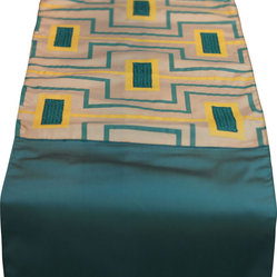 Vintage Maya - Visby Embroidered Dining Table Runner - Liven up your table with this unique turquoise and yellow table runner. Your china will never look better set against this colorful backdrop.