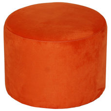 Modern Ultrasuede Round Ottoman in an Array of Colors
