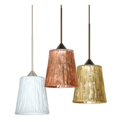 """Besa Lighting - Nico 4 Mini Pendant by Besa Lighting - The Besa Lighting Nico 4 Mini Pendant features a richly rippled handmade glass shade that shines in luxurious metallic, """"stone"""" and clear glass options. This low voltage pendant is great for adding elegance to the dining room or modern kitchen. Finished in either Bronze or Satin Nickel. Besa Lighting Company, located in Ohio, uses only glass handcrafted in Europe. Using traditional methods passed down from generation to generation, every hand-blown glass lighting system Besa Lighting Company produces is an original.The Besa Lighting Nico 4 Mini Pendant is available with the following:Details:Flared glass shadeBrass and aluminum supportsRound ceiling canopy120"""" teflon-covered coaxial cord5"""" decorative sleeve coverLow voltageUL ListedOptions:Canopy: Dome, or Flat.Finish: Bronze, or Satin Nickel.Shade: Clear Stone, Opal Stone, Stone Copper Foil, Stone Gold Foil, or Stone Silver Foil.Lighting: One 35 Watt 12 Volt Bi-Pin Low voltage Type GY6.35 Halogen lamp (included).Shipping:This item usually ships within 5 business days."""