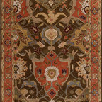 Jaipur Rugs - Hand-Tufted European Pattern Wool Taupe/Orange Area Rug ( 3.6x5.6 ) - The Poeme Collection takes traditional designs and re-invents them in a palette of modern, highly livable colors. Each design is made from premiere hand-spun wool and crafted with precision for the look and feel of a hand-knotted rug, at the more affordable cost of a hand-tufted. Poeme will effortlessly coordinate individual design elements to finish any room.