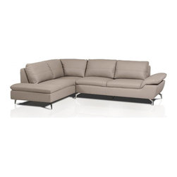 Modern Gray Eco-Leather Sectional Sofa - Features: