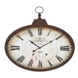 Benzara - Metal Wall Clock Design in Rustic and Unique Pattern - . A great home decor item, this wall clock will accentuate the beauty of your lovely abode. This fascinating and vintage style round wall clock is designed in a rustic and unique pattern. It is one of the best wall clock options one can get if you have an antique interior setting. The beautiful and artistic watch replicates the design of olden wall clock styles as created in the 1920's. The vintage look brings a rustic and old world charm to your living room along with maintaining class and elegance. It is designed with a metal outside rim with a brown polish which gives it a wooden look. This clock has a distinctive and unique design that brings out its aesthetic and imaginative appeal.