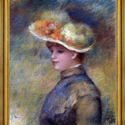 "Pierre Auguste Renoir-16""x20"" Framed Canvas - 16"" x 20"" Pierre Auguste Renoir Young Woman Wearing a Hat framed premium canvas print reproduced to meet museum quality standards. Our museum quality canvas prints are produced using high-precision print technology for a more accurate reproduction printed on high quality canvas with fade-resistant, archival inks. Our progressive business model allows us to offer works of art to you at the best wholesale pricing, significantly less than art gallery prices, affordable to all. This artwork is hand stretched onto wooden stretcher bars, then mounted into our 3"" wide gold finish frame with black panel by one of our expert framers. Our framed canvas print comes with hardware, ready to hang on your wall.  We present a comprehensive collection of exceptional canvas art reproductions by Pierre Auguste Renoir."