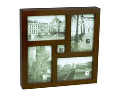 Boom - New Port-Land Frame - Pick five special photos to showcase in this modern frame. Four of them will be a classic 4-by-6 size, and then you can have fun with a small 1-1/4-inch-square opening. It's a playful way to display treasured memories from a vacation or celebration.