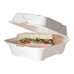 "Eco-products 6 Inch Sugarcane Clamshell - Case Of 500 - 6"" x 6"" x 3"" Hinged Sugarcane Clamshell"
