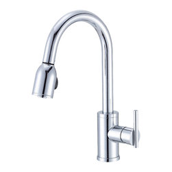 "Danze - Danze D457058 Single Handle Kitchen Pull-Down Chrome - Danze D457058 Chrome Single Handle Pull-Down Kitchen Faucet is part of the Parma Kitchen collection.  D457058 Single hole mount Pull-Down Kitchen Faucet has a 9"" long and 16"" high spout, with 2 function spray/aerated stream.  D457058 Single lever handle meets all requirements of ADA.  California and Vermont compliant."